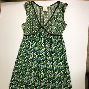 Max Studio brown, white and green jersey dress